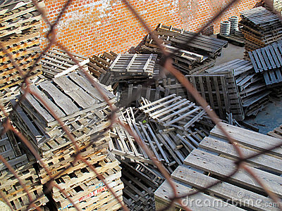Pallets stacked