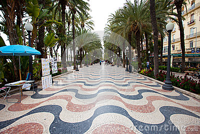 Palm Alley Alicante Editorial Stock Photo