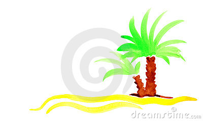 Palm beach sand island travel background.