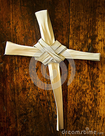 Palm Branch On Old Wood Seat At Sunday Mass