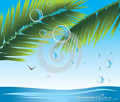 Palm branches with bubbles. Seascape