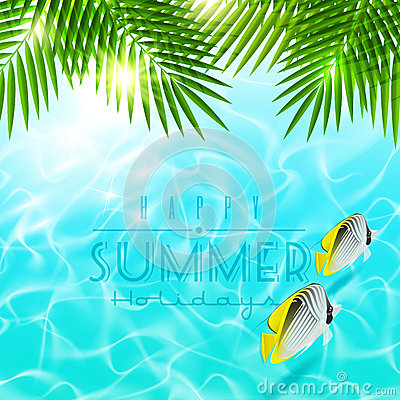 Free Palm Branches Over Blue Water With Tropical Fishes Stock Images - 29613454
