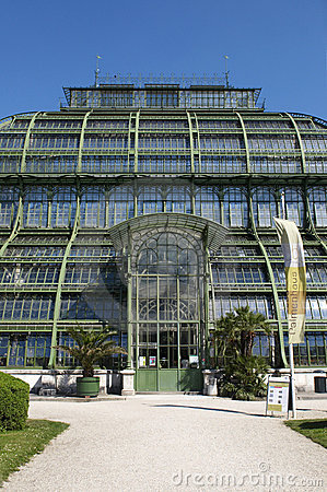 Palm house in landscape park of Schonbrunn