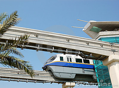 The Palm Jumeirah monorail station and train