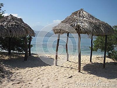 Palm Leaf Huts on Beach Stock Photo