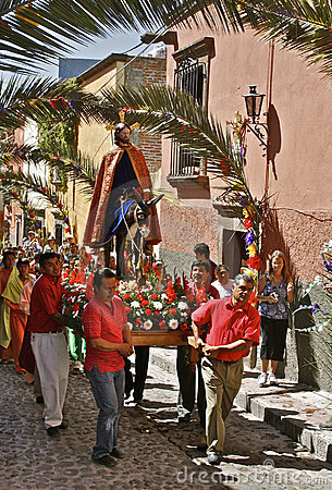 Palm Sunday Procession, San Miguel de Allende Editorial Stock Photo