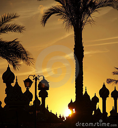 Palm-tree and cupola silhouette