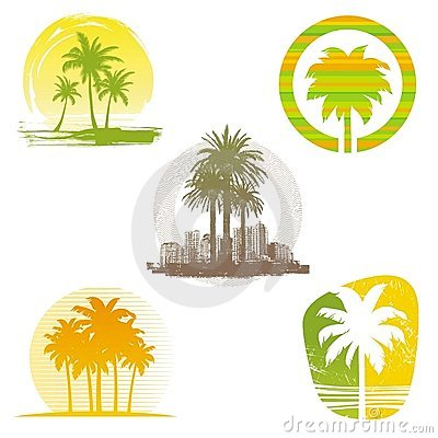 Free Palm Tree Emblems & Labels Royalty Free Stock Images - 19961389