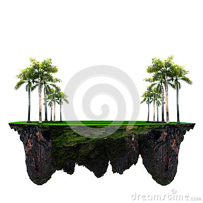 Palm tree and green grass field on floating island use for multipurpose background