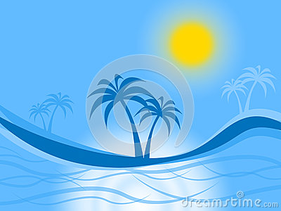 Palm Tree Represents Tropical Island And Atoll