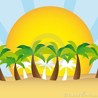 Palm tree and sun vector