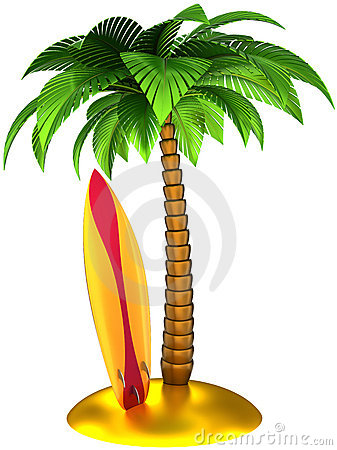 Palm tree and surfboard stylized