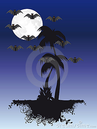 Palm tree under moon