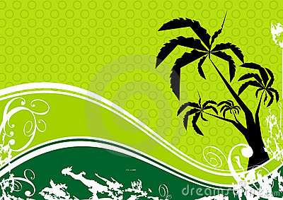 Palm tree and wave