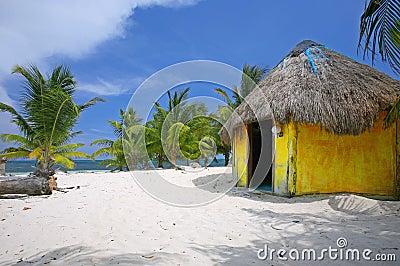 Palm Tree and yellow cabana