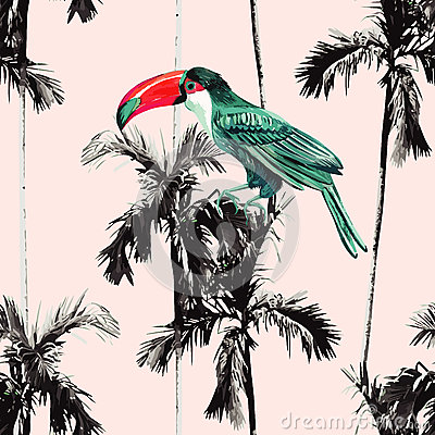 Free Palm Trees And Toucan Seamless Background Royalty Free Stock Images - 75050909