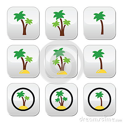 Palm trees, exotic holidays on beach  colorful icons set