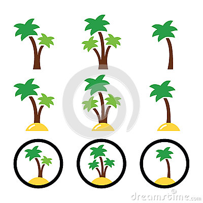 Palm trees, exotic holidays colorful icons