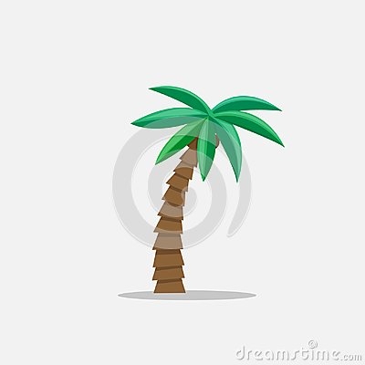 Free Palm Trees In Cartoon Style Isolated On White Background Vector Illustration. Tropical Summer Tree Plant On Nature For Royalty Free Stock Image - 99841536