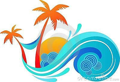 Palm trees and ocean wave