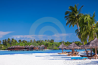 Palm trees over sandy tropical beach with villas