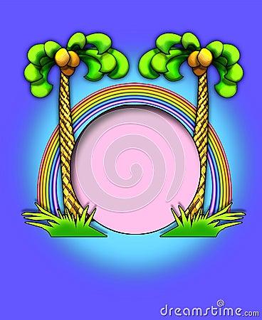 Palm trees/rainbow frame