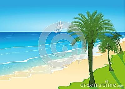 Palm Trees on a Sandy Beach with Sailing Ship