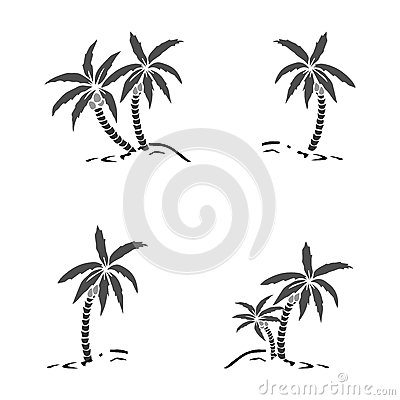 Free Palm Trees Silhouette On Island. Vector Illustration. Tropical Exotic Plant Isolated On Background. Modern Hipster Style Apparel, Royalty Free Stock Images - 92407969
