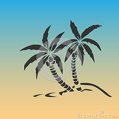 Free Palm Trees Silhouette On Island. Vector Illustration. Tropical Exotic Plant  On Background. Modern Hipster Style Apparel, Royalty Free Stock Photos - 93239758