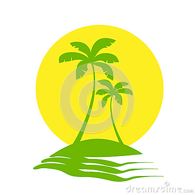 Free Palm Trees Sun Tropical Island Icon Vector Stock Photography - 54032982