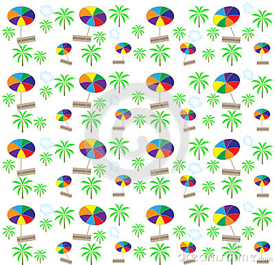 Palm trees, umbrellas seamless pattern. Vector