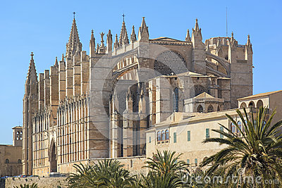 Palma Cathedral City Walls Majorca Spain