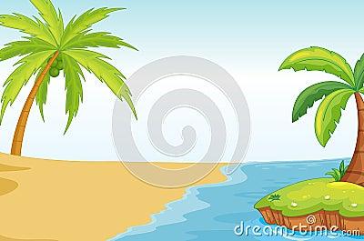 Palmand coconut tree on sea shore