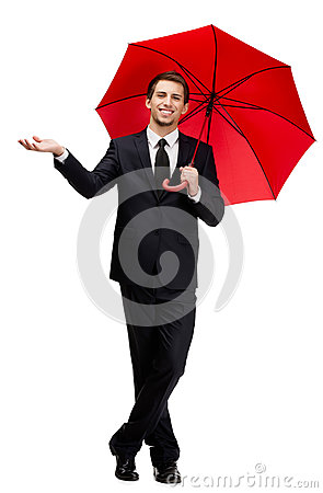 Palming up man with umbrella