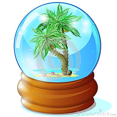 Palms in glass ball