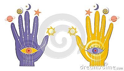 Palms with psychic symbols