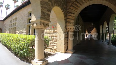 Stanford archway Palo Alto. Palo Alto, California, United States - August 13, 2018:archway to Main Quad at Stanford University Campus, one of the most stock footage