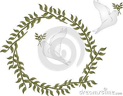 Palomas de paz con las ramas de olivo