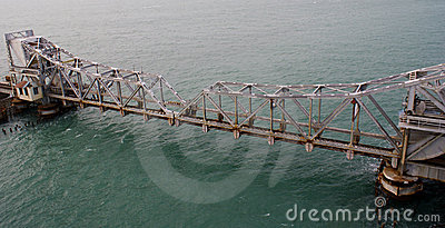 Pamban Railway Bridge across the Indian Ocean Editorial Photography
