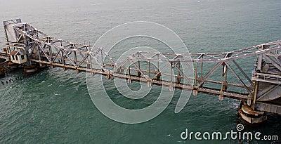 Pamban Railway Bridge across the Indian Ocean Editorial Photography