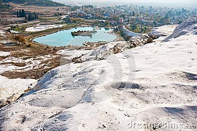 Pamukkale lake and town