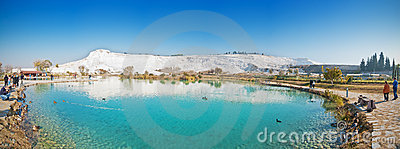 Pamukkale natural park lake Editorial Photography