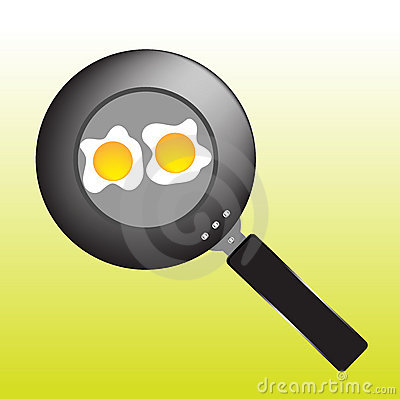 Pan with eggs