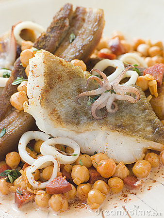 Pan Fried Cod Fillet and Baby Squid with Beans