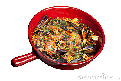Pan With Paella, Isolated On White