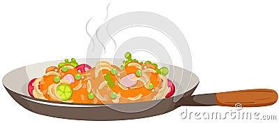 Pan of spaghetti