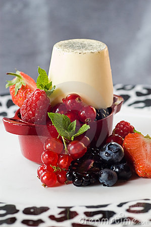 Panacotta and summer fruit
