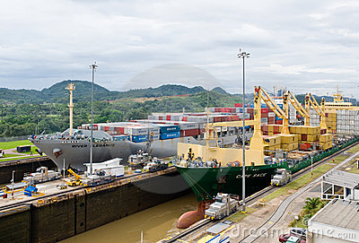 Panama Canal Cargo Ships Editorial Photo