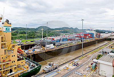 Panama Canal Locks Transit Editorial Image