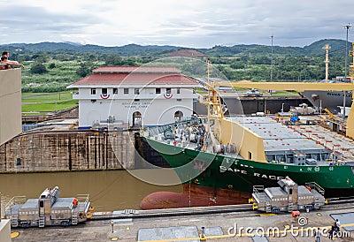Panama Canal Ship Passage Editorial Stock Image